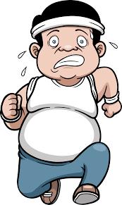 Fat man jogging